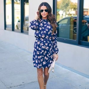 Long sleeved Navy Floral Dress